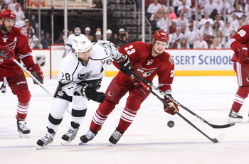 Ekman-Larsson skating by the Los Angeles Kings in the Western Conference Finals last season for the Coyotes