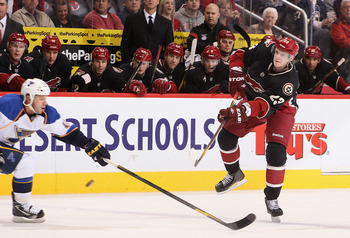 Ekman-Larsson fires a shot from the point against the St. Louis Blues last season.