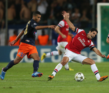 Belhanda takes on Arsenal in the Champions League