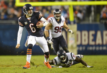 Jay Cutler has needed to run for his life too often in Chicago.