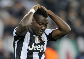 Asamoah couldn't convert on this occasion, but he was a key ingredient to Juventus' victory over Chelsea