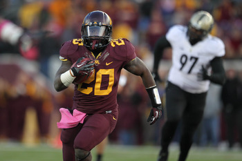 Donnell Kirkwood leads the Gophers with 830 rushing yards and five touchdowns.