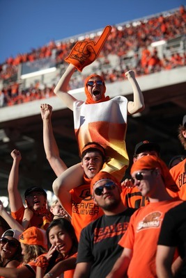 Oct. 06, 2012; Corvallis, OR, USA; Oregon State Beavers fans dance before the fourth quarter of the game against the Washington State Cougars at Reser Stadium. Mandatory Credit: Jaime Valdez-US PRESSWIRE