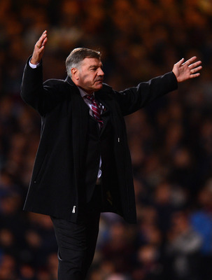 LONDON, ENGLAND - NOVEMBER 19:  Sam Allardyce, manager of West Ham United shows his frustration during the Barclays Premier League match between West Ham United and Stoke City at the Boleyn Ground on November 19, 2012 in London, England.  (Photo by Mike H