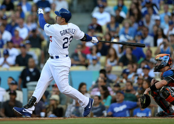 Adrian Gonzalez homered in his first at bat with the Dodgers on August 25.