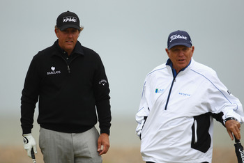 Butch Harmon, right, with one of his star pupils, Phil Mickelson.