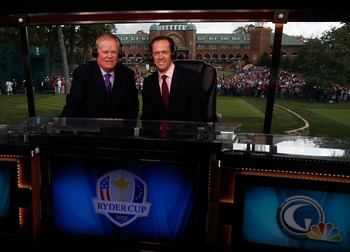 Johnny Miller, left, teams with Dan Hicks in the 18th tower on NBC.