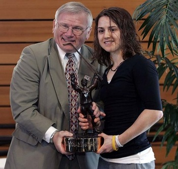 Awarded the 2010 Patty Kazmaier Award (Photo by Andy King, Mercyhurst Athletics, Obtained from Toronto Star website) http://www.thestar.com/sports/college/article/782919--what-a-difference-a-day-makes-for-kazmaier-award-winner