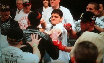 Diaz has a long list of poor behavior. His role in the Nashville brawl ended up seriously harming his promotion. Photo c/o bloodyelbow.com.