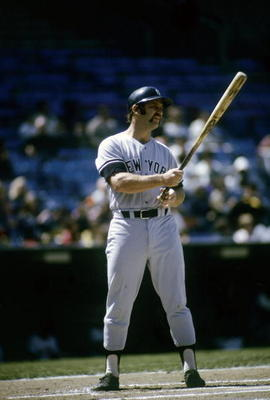 "The block ""New York"" reappeared on the front of the Yankees' road uniforms in 1931 and has never left. The white trim, shown in this mid-1970s photo of the late Thurman Munson, was added in 1973. Photo by Focus on Sport/Getty Images"