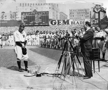 Lou Gehrig prepares to speak to the Yankee Stadium faithful on July 4, 1939. Lou Gehrig Appreciation Day started the Yankees' tradition of holding an annual Old Timers' Day. Photo by Sporting News/Sporting News via Getty Images