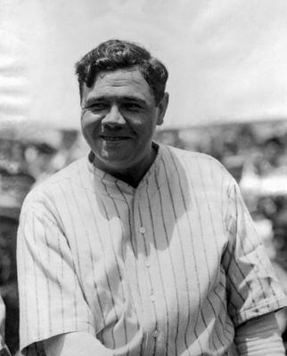 Contrary to legend, the Yankees did not add pinstripes to their home uniforms in an effort to make Babe Ruth look slimmer. Photo by National Baseball Hall of Fame Library/MLB Photos via Getty Images