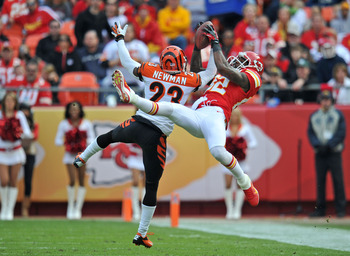 KANSAS CITY, MO - NOVEMBER 18:  Defensive back Terence Newman #23 of the Cincinnati Bengals breaks up a pass intended for wide receiver Dwayne Bowe #82 of the Kansas City Chiefs during the first half on November 18, 2012 at Arrowhead Stadium in Kansas Cit