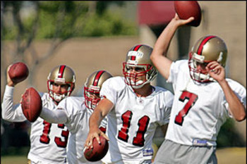 49ers Training Camp in 2005 (source: http://i.a.cnn.net/si/2005/writers/jeffri_chadiha/08/12/postcard.49ers/p1_49ers_qbs.jpg)