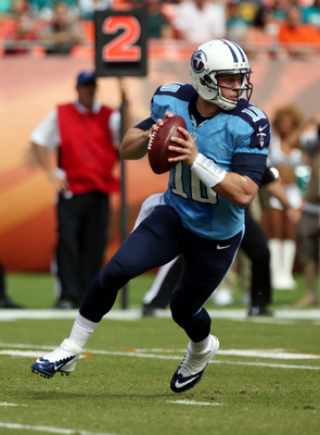 MIAMI GARDENS, FL - NOVEMBER 11: Quarterback Jake Locker #10 of the Tennessee Titans throws against the Miami Dolphins at Sun Life Stadium on November 11, 2012 in Miami Gardens, Florida. (Photo by Marc Serota/Getty Images)