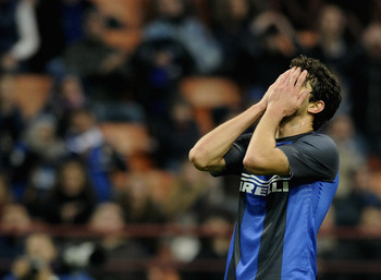 MILAN, ITALY - NOVEMBER 18:  Andrea Ranocchia of FC Inter Milan appears dejected during the Serie A match between FC Internazionale Milano and Cagliari Calcio at San Siro Stadium on November 18, 2012 in Milan, Italy.  (Photo by Claudio Villa/Getty Images)