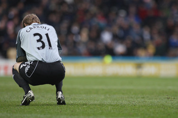 DERBY, UNITED KINGDOM - MARCH 29: Roy Carroll of Derby County looks dejected during the Barclays Premier League match between Derby County and Fulham at Pride Park on March 29, 2008 in Derby, England.  (Photo by Laurence Griffiths/Getty Images)