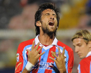 CATANIA, ITALY - SEPTEMBER 22: Nicolas Spolli of Catania shows his dejection during the Serie A match between Catania and Cesena at Stadio Angelo Massimino on September 22, 2010 in Catania, Italy.  (Photo by Dino Panato/Getty Images)