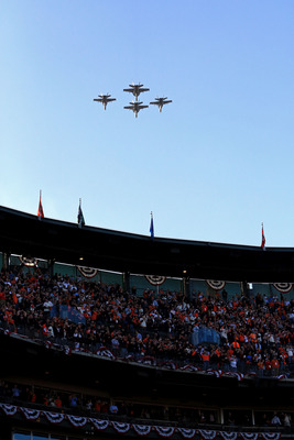 The traditional military flyover before the 2012 World Series