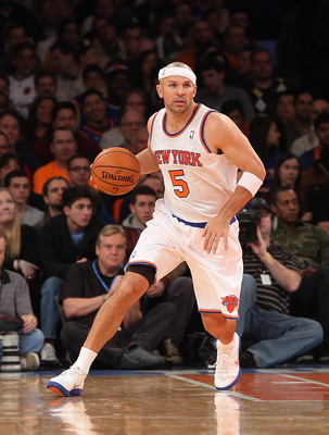 NEW YORK, NY - NOVEMBER 18:  Jason Kidd #5 of the New York Knicks dribbles the ball against the Indiana Pacers at Madison Square Garden on November 18, 2012 in New York City. NOTE TO USER: User expressly acknowledges and agrees that, by downloading and/or