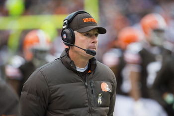 Cleveland Brown's Coach Pat Shurmur Stalks The Sidelines