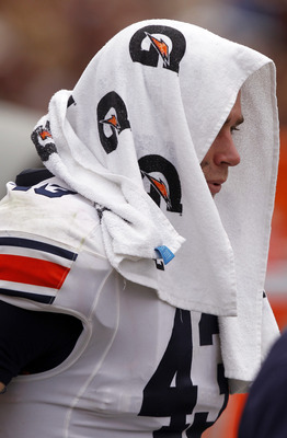 STARKVILLE, MS - SEPTEMBER 08:  tight end Philip Lutzenkirchen #43 of the Auburn Tigers is checked out on the sidelines after being helped off the field in the fourth quarter of a NCAA college football game against the Mississippi State Bulldogs on Septem