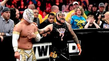 Sin Cara and Rey Mysterio (Courtesy of WWE.com)