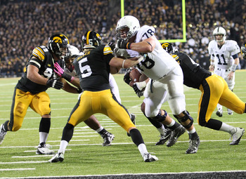 October 20, 2012; Iowa City, IA, USA;  Penn State Nittany Lions tackle  Mike Farrell (78) blocks safety Tanner Miller (5) of the Iowa Hawkeyes in the second half at Kinnick Stadium. Penn State beat Iowa 38-14. Mandatory Credit: Reese Strickland-US PRESSWI