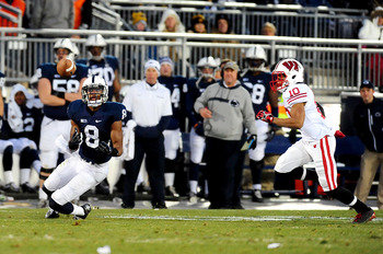 November 24, 2012; University Park, PA, USA; Penn State Nittany Lions wide receiver Allen Robinson (8) attempts to catch a pass in front of Wisconsin Badgers cornerback Devin Smith (10) at Beaver Stadium. Mandatory Credit: Evan Habeeb-US PRESSWIRE