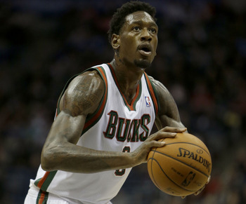 MILWAUKEE, WI - NOVEMBER 3: Larry Sanders #8 of the Milwaukee Bucks shoots a free throw during the game against the Cleveland Cavaliers at Bradley Center on November 3, 2012 in Milwaukee, Wisconsin. NOTE TO USER: User expressly acknowledges and agrees tha