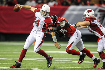Ryan Lindley feels the pressure from the Falcons' pass rush.