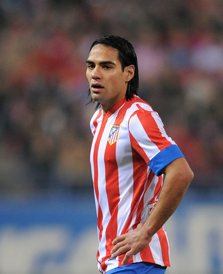 MADRID, SPAIN - NOVEMBER 25:  Radamel Falcao of Club Atletico de Madrid looks on during the La Liga match between Club Atletico de Madrid and Sevilla FC at Vicente Calderon Stadium on November 25, 2012 in Madrid, Spain.  (Photo by Denis Doyle/Getty Images