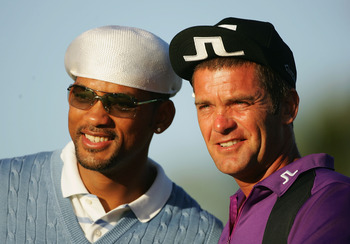 Jesper Parnevik's turned-up hat look.