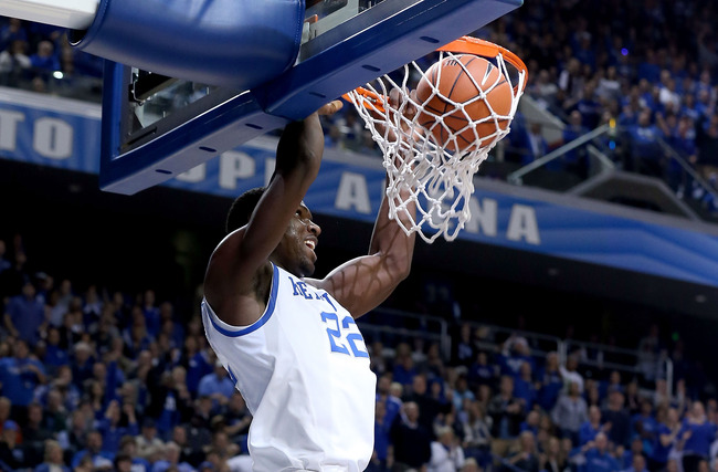 LEXINGTON, KY - NOVEMBER 23:  Alex Poythress #22 of the Kentucky Wildcats dunks the ball during the game against the Long Island Blackbirds at Rupp Arena on November 23, 2012 in Lexington, Kentucky.  (Photo by Andy Lyons/Getty Images)