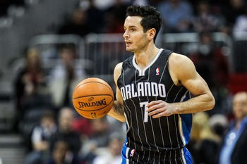 J.J. Redick brings the ball down the floor.
