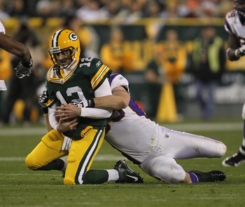 Jared Allen needs a big game of applying pressure to Aaron Rodgers