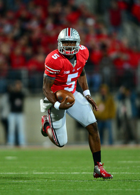Braxton Miller runs in the open field against the Cornhuskers.