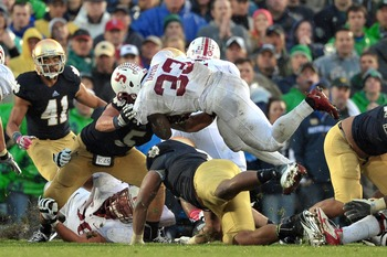 Stepfan Taylor's controversial no call when it looked like Stanford scored in OT with Notre Dame.
