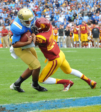 UCLA dominated USC in their late season rivalry game.