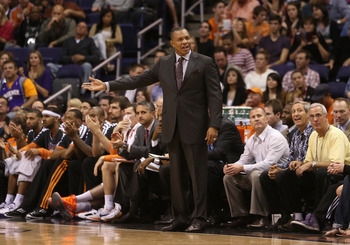 Phoenix coach Alvin Gentry questions a call against the Miami Heat