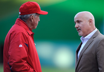 Nationals manager Davey Johnson (L) and GM Mike Rizzo (R).