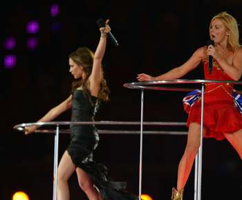 Posh (in black) performs with the Spice Girls