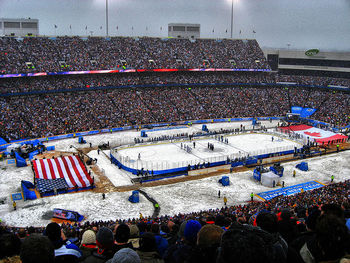 the 2008 Winter Classic game held at Ralph Wilson Stadium. Photo courtesy of nhl.com