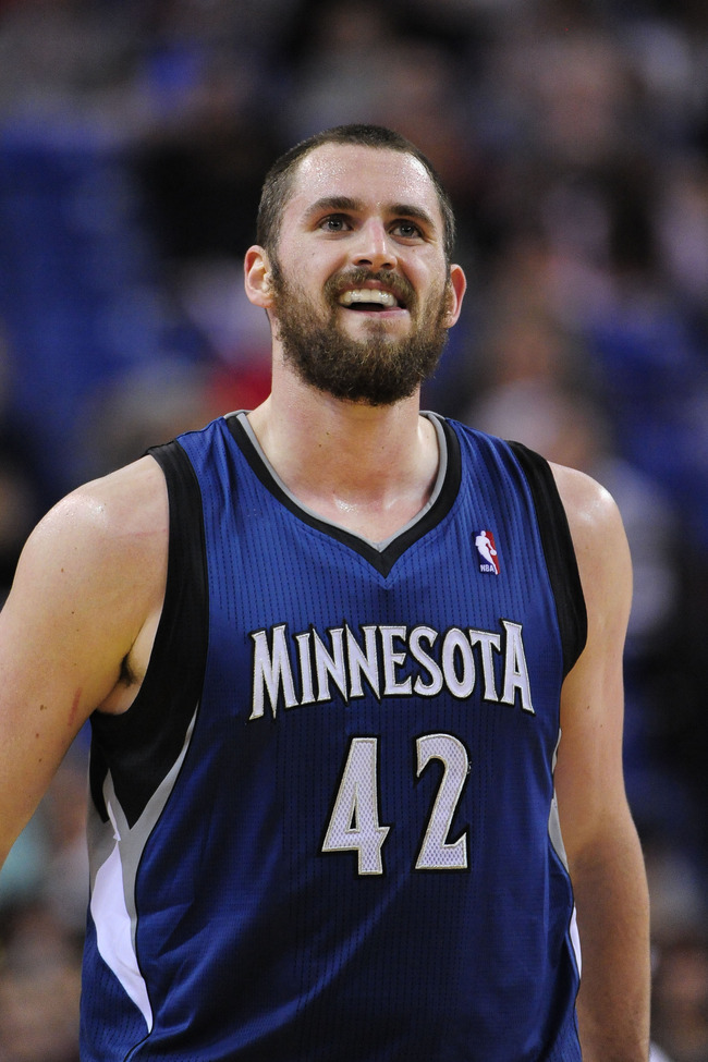 November 27, 2012; Sacramento, CA, USA; Minnesota Timberwolves power forward Kevin Love (42) looks on during the third quarter against the Sacramento Kings at Sleep Train Arena. The Timberwolves defeated the Kings 97-89. Mandatory Credit: Kyle Terada-US P