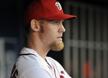 Oct 11, 2012; Washington, DC, USA; Washington Nationals pitcher Stephen Strasburg (37) in the dugout during game four of the 2012 NLDS against the St. Louis Cardinals at Nationals Park. Mandatory Credit: Joy R. Absalon-US PRESSWIRE