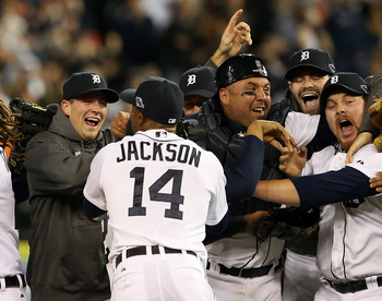 DETROIT, MI - OCTOBER 18:  (From right) Justin Verlander #35, Phil Coke #40, Alex Avila #13, Gerald Laird #9 and Austin Jackson #14 of the Detroit Tigers celebrate after they won 8-1 against the New York Yankees during game four of the American League Cha
