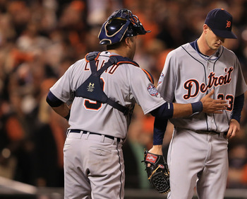 SAN FRANCISCO, CA - OCTOBER 25:  (L-R) Catcher Gerald Laird #9 of the Detroit Tigers talks with Drew Smyly #33 against the San Francisco Giants during Game Two of the Major League Baseball World Series at AT&T Park on October 25, 2012 in San Francisco, Ca