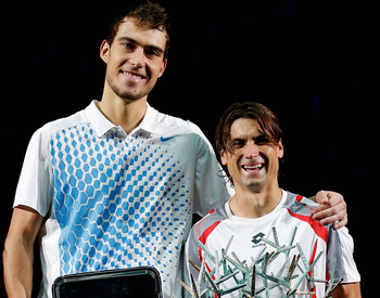 Jerzy Janowicz's twitter page profile photo (with David Ferrer)