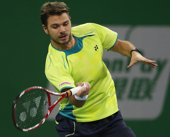 Stanislas Wawrinka playing Roger Federer at the Shanghai Masters