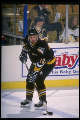 Chris Wells donning his Penguins gear in 1995.